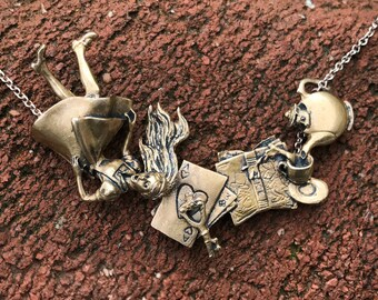 Alice in Wonderland Necklace  (Bronze)