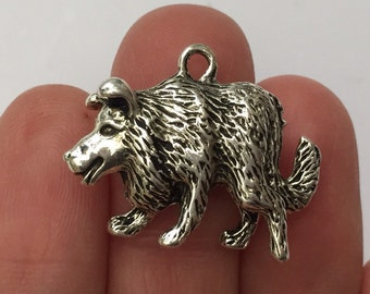 4 Boarder Collie Dog Charms Antique Silver 27mm x 21mm - DOG27