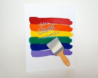 Colorful Card, Rainbow Card, You Color My World, Paint Card, Rainbow Colors Card, Painter Card, Friendship Card, Love Card, Artist Card, Art