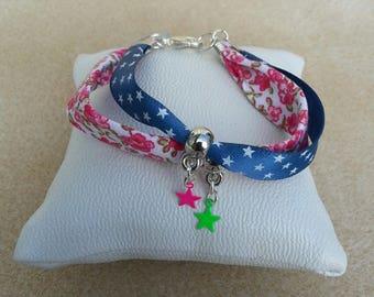 Liberty bracelet child fuchsia Navy stars white bail mini neon star charm