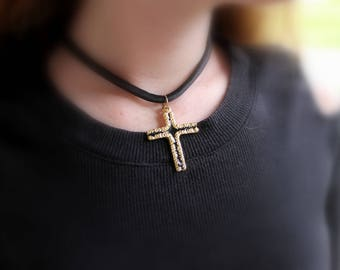 Vintage Cross Choker, Black and Gold Pendant, Black Satiny Fabric FREE Domestic SHIPPING