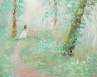Impressionist landscape painting, romantic art, forest painting, trees painting, bedroom art, figure in landscape, Etsy art, by Jan Matson