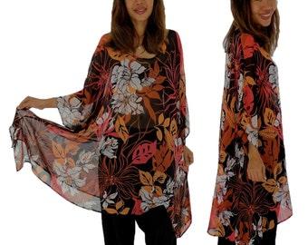 HO200GBT11 tunic plus size blouse chiffon Gr. 42-56 black/orange