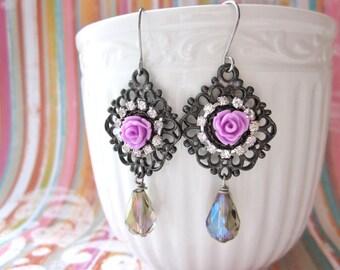 Romantic Rose Earrings, Rose Rhinestone Earrings, Purple Rose Earrings, Lavender Rose Earrings, Crystal Drop Earrings, Gunmetal Earrings