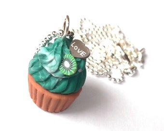 Mint Cupcake Necklace ( polymer clay food miniature food dessert food jewelry mini food necklace kawaii necklace green necklace )