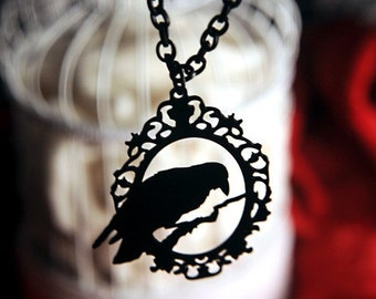 Raven necklace in black stainless steel, Crow jewelry, Black raven jewelry, large crow necklace