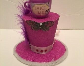 Mad Hatter Alice in wonderland Purple Mini Top Hat Fancy Dress Halloween