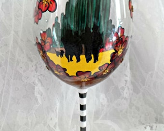 Hand-painted Wizard Of Oz wine glass. Ruby Slippers. Yellow Brick Road. Emerald City