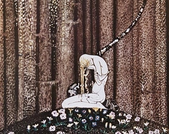 Kay Nielsen print, Art Nouveau, 1975 original print published London - East of the Sun West of the Moon,  a Norwegian fairy tale - unmatted