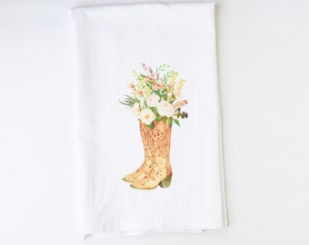 Flour Sack Towel | Succulent Watercolor Cowgirl Boots | Fun Towel | Gifts under 10