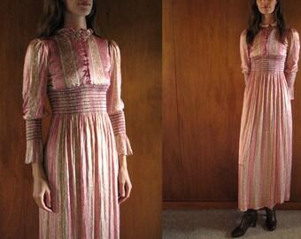 1970s pink paisley maxi dress, xs