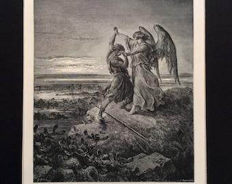 JACOB Wrestling ANGEL 1870 Antique Engraving Gustave Doré 1st Edition Bible Genesis