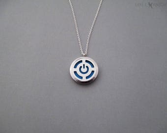 Power Button Symbol - Stainless Steel Diffuser Locket - Essential Oil Pendant