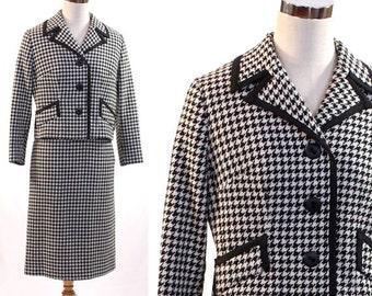 Vintage 1960s Women's Black & White Houndstooth Suit - Snyder Craft 2-Piece Ladies Suit - Size 9/10 - California - Mad Men