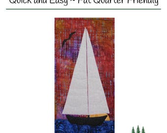 "PDF Pattern Quilted Sailboat Wallhanging - ""Sailboat at Sunset"""