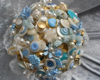 Something Blue Vintage Button Bouquet