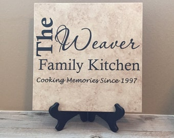 Decorative Tile, Personalized Gifts, Name Tile, Wedding Gifts, Kitchen Sign, Name Sign, Couples Gifts, Established Sign, Last Name Sign