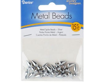 Metal Spike Beads - Silver - 15 pieces – 1999-6215