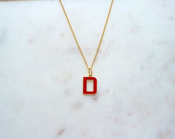 Letter D Initial Red Enamel 18 Kt Yellow Gold Over 925 Sterling Silver Rolo Chain Necklace 45 cm with 5 cm extension Sport Style