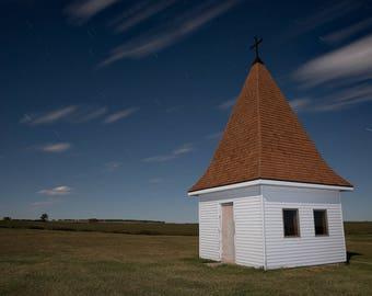 Church Steeple, Old Church, Rural Church, Rural Landscape, Night Photo, Night Sky, Moonlight, North Dakota Farm