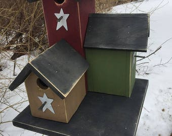 Primitive Country Condo Birdhouse Red Green Tan Three Nesting Boxes