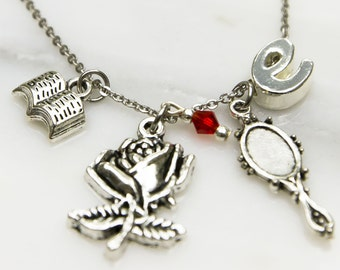 Personalized Beauty and the Beast Inspired Necklace, Beauty and the Beast gift, Belle, Disney Necklace, Princess Necklace Fairy tale Jewelry