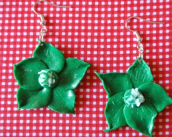 handmade green flower earring