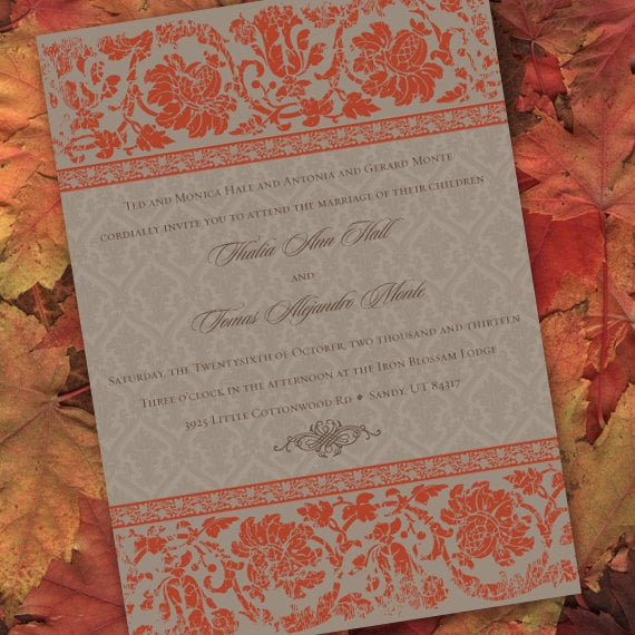 wedding invitations, bridal shower invitations, pumpkin wedding invitations, pumpkin bridal shower invitations, IN221.2