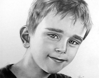 Custom Portrait  Pencil Drawing ~ Hand Drawn Personalized Art ~ One Person Head and Shoulders 11x14 - Black and White ~ FREE SHIPPING