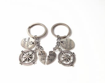partners in crime keychain, compass key chain, no matter the distance, no matter what no matter where, going away gift for friend