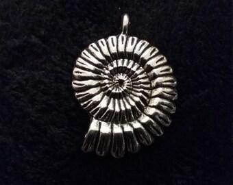 3D Silver Tone Ammonite Fossil Shell Pendant