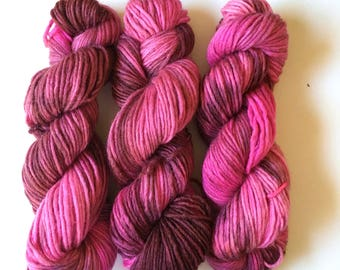 Turkish Delight. 50g 8ply/DK (double knit) weight yarn.  Kettle Dyed. New Zealand Merino and Silk Yarn.