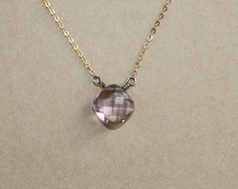 Ametrine Cushion Cut Small Pendant on Delicate 14 kt Gold Filled Necklace Mixed Metal Minimalist Jewelry