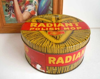 Vintage Mid Century Industrial Red Yellow Tin Box Storage Container Radiant Polish Mop