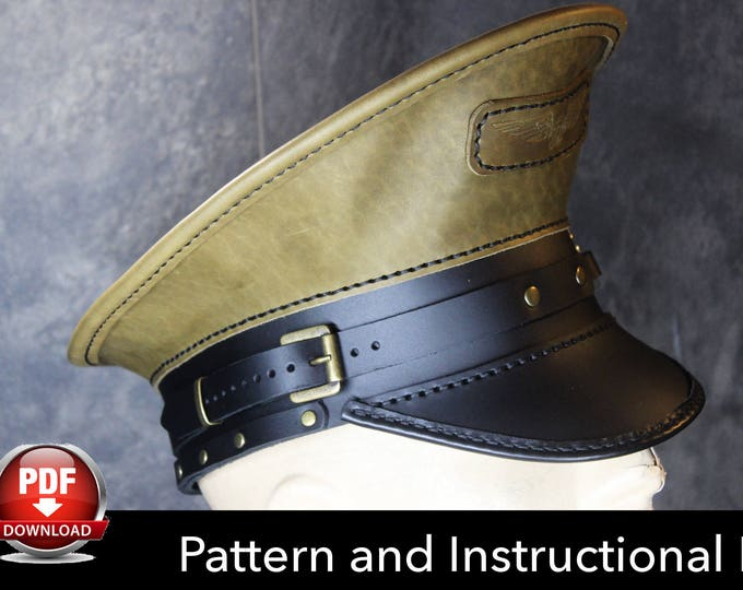Officer Hat PATTERN - DIY Pattern - Steampunk hat DIY - Pdf Download - Military Hat - Military Cap Pattern