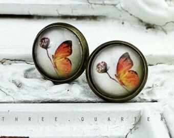 Studs, butterfly, pusteblume, antique bronze, glass, butterfly, nostalgic, romantic, hippie, gray, orange, dandelion, boho