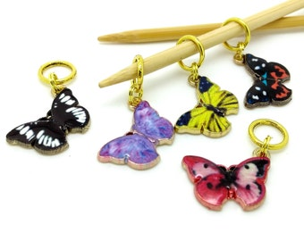 Butterfly stitch markers - butterflies stitchmarkers - place holder notions - knitting accessories - knitting crochet notions