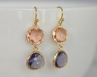 Champagne and Tazanite earrings, Gold earrings, Wedding earrings, Bridal jewelry, Clip earrings, Crystal earrings, Bead earrings
