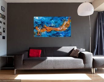 Marlin in ocean, abstract painting, contemporary art, acrylic