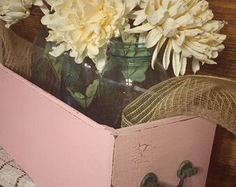 Reclaimed Pink Sewing Machine Drawer / Shabby French Country Decor