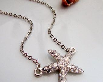 Halskette Silber Seestern, Strass Seestern Anhänger, Glanz, Strand Hochzeit, Brautjungfer Halskette, Blueartichokedesigns