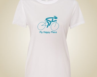 Women's bicycle  t shirt My Happy Place