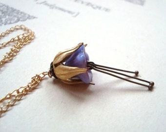 Lavender Glass Blossom Necklace Brass Bridal Jewelry Bridesmaid Necklace Flower Jewelry Gifts Under 30 Vintage Style Flower Jewelry