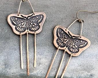 Moth Earrings in Bronze or Sterling