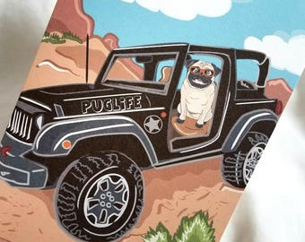 Offroad Pug Greeting Card