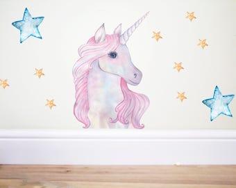 Pink Unicorn wall decal,unicorn sticker,horse wall decal,pastel decor,rainbow decor,nursery decor,girls bedroom decor,unicorn,unicorn party