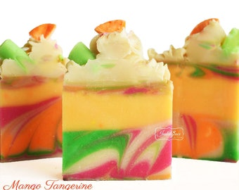 Mango Tangerine Handmade Artisan Soap-Vegan Soap-Cold Process Soap- Gourmet Soap