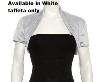 WHITE Taffeta bolero shrug size 16 UK , size 12-14 US