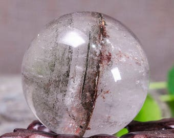 Rare Natural Clear Green And Red Phantom Rainbow Crystal Quartz Sphere Ball-layers Chlorite Included/Scenical Quartz Sphere-37mm 67g#1265