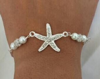 Silver Rhinestone Starfish Bracelet Wedding Jewelry Bridesmaid Gift Bridal Starfish Jewelry